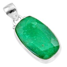 925 sterling silver 12.60cts natural green emerald pendant jewelry t47206