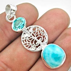 6.33cts natural blue larimar topaz 925 silver tree of life pendant t56685