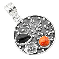 Clearance Sale- 925 silver 3.52cts halloween natural onyx red sponge coral flower pendant t57511