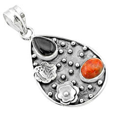 Silver 4.93cts halloween natural onyx pear sponge coral flower pendant t57528