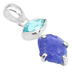 7.45cts natural blue tanzanite raw topaz 925 sterling silver pendant t6994
