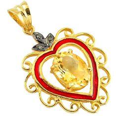 6.53cts victorian natural diamond citrine enamel 925 silver gold pendant v1945