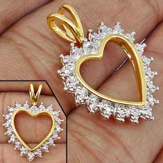 ANTIQUE NATURAL WHITE DIAMOND 925 STERLING SILVER 14K GOLD HEART PENDANT H19864