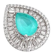 5.87cts aqua chalcedony topaz 925 sterling silver pendant jewelry c5570