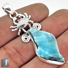 ATTRACTIVE NATURAL BLUE LARIMAR 925 STERLING SILVER CRAB PENDANT JEWELRY G27828