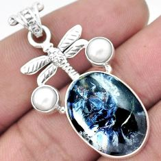 AWESOME BLACK PIETERSITE (AFRICAN) OVAL 925 SILVER DRAGONFLY PENDANT H44030