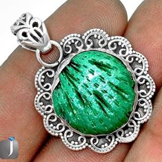 12.85cts AWESOME GREEN CARDITA SHELL 925 STERLING SILVER PENDANT JEWELRY G27698