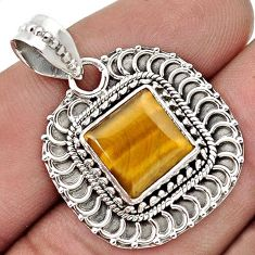 AWESOME NATURAL BROWN TIGERS EYE 925 STERLING SILVER PENDANT JEWELRY G91530