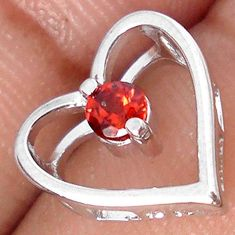 AWESOME NATURAL RED RHODOLITE 925 STERLING SILVER HEART PENDANT JEWELRY H19973