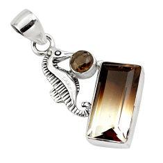 9.65cts bio brown smoky topaz smoky topaz 925 silver seahorse pendant p79508