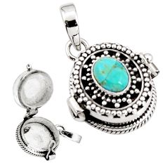 2.31cts blue arizona mohave turquoise 925 silver poison box pendant p92863