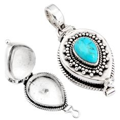 2.11cts blue arizona mohave turquoise 925 silver poison box pendant p92868