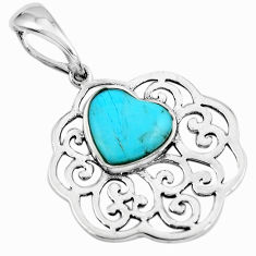3.87cts blue arizona mohave turquoise 925 sterling silver pendant jewelry c4831