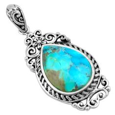 9.16cts blue arizona mohave turquoise 925 sterling silver pendant jewelry c4838