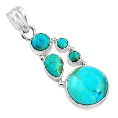 15.39cts blue arizona mohave turquoise 925 sterling silver pendant p89165