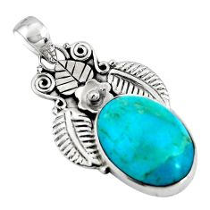 13.15cts blue arizona mohave turquoise 925 sterling silver pendant p90261