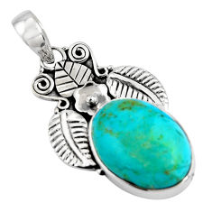 14.72cts blue arizona mohave turquoise 925 sterling silver pendant p90263