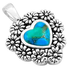4.82cts blue arizona mohave turquoise heart 925 silver flower pendant c4833