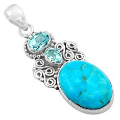 15.39cts blue arizona mohave turquoise topaz 925 sterling silver pendant p84750