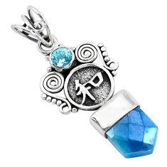 7.53cts blue aura quartz (arkansas) topaz 925 sterling silver pendant p40366