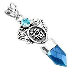 7.79cts blue aura quartz (arkansas) topaz 925 sterling silver pendant p40370