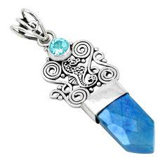 12.60cts blue aura quartz (arkansas) topaz 925 sterling silver pendant p52152