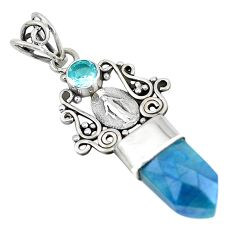 7.17cts blue aura quartz (arkansas) topaz 925 sterling silver pendant p52154