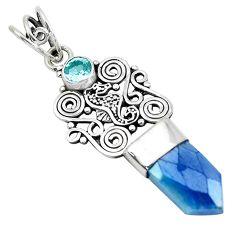 7.50cts blue aura quartz (arkansas) topaz 925 sterling silver pendant p52155