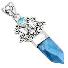 8.44cts blue aura quartz (arkansas) topaz 925 sterling silver pendant p52156