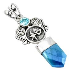 8.80cts blue aura quartz (arkansas) topaz 925 sterling silver pendant p52159