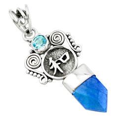 5.54cts blue aura quartz (arkansas) topaz 925 sterling silver pendant p58854