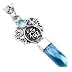 8.55cts blue aura quartz (arkansas) topaz 925 sterling silver pendant p58855