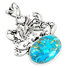 12.96cts blue copper turquoise 925 sterling silver dragon pendant jewelry p59747