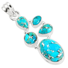 13.28cts blue copper turquoise 925 sterling silver pendant jewelry p34039