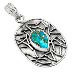 4.38cts blue copper turquoise 925 sterling silver pendant jewelry p78474