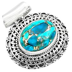 9.44cts blue copper turquoise 925 sterling silver pendant jewelry p86569