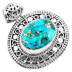 9.72cts blue copper turquoise 925 sterling silver pendant jewelry p86572