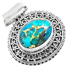 9.13cts blue copper turquoise 925 sterling silver pendant jewelry p86587