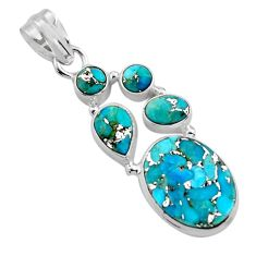 12.85cts blue copper turquoise 925 sterling silver pendant jewelry p89182
