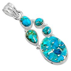13.71cts blue copper turquoise 925 sterling silver pendant jewelry p89189