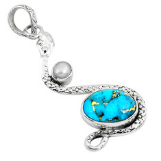 6.58cts blue copper turquoise pearl 925 sterling silver snake pendant p49105