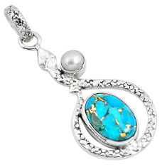 6.53cts blue copper turquoise pearl 925 sterling silver snake pendant p49131