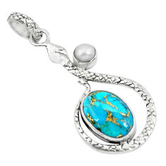 6.84cts blue copper turquoise pearl 925 sterling silver snake pendant p49132