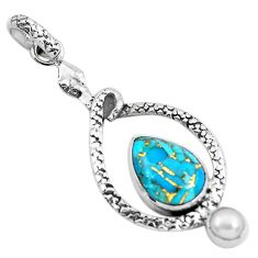 7.11cts blue copper turquoise pearl 925 sterling silver snake pendant p49186