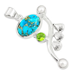 8.54cts blue copper turquoise peridot 925 sterling silver pendant jewelry d31778
