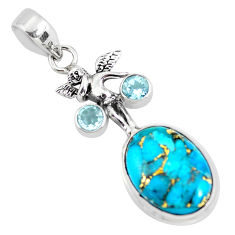 13.71cts blue copper turquoise topaz 925 silver angel wings fairy pendant p56766