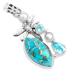 15.11cts blue copper turquoise topaz 925 silver dragonfly pendant p37632