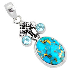 14.88cts blue copper turquoise topaz 925 silver holy cross pendant p56765