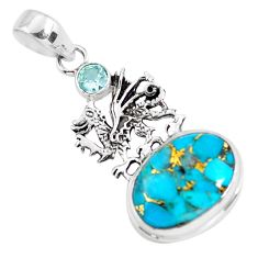 14.12cts blue copper turquoise topaz 925 sterling silver dragon pendant p56762
