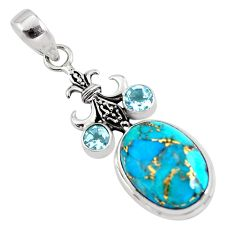 14.41cts blue copper turquoise topaz 925 sterling silver pendant jewelry p56774